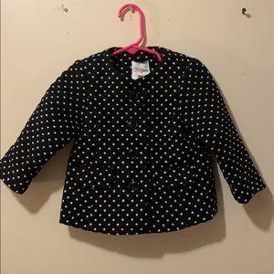 Girls 12 month Pea Coat black & white polka dots